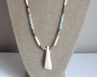 Long necklace with coconut wood beads, amazonite, and bone beads, layering necklace, beach chic, summer fashion, boho style, buffalo tooth