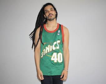 90s VTG Shawn Kemp Seattle SuperSonics Champion Brand NBA Basketball Jersey - 1990s Sonics Jerseys - 90s Clothing - MV0343