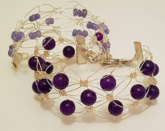Gemstone macrame bracelet