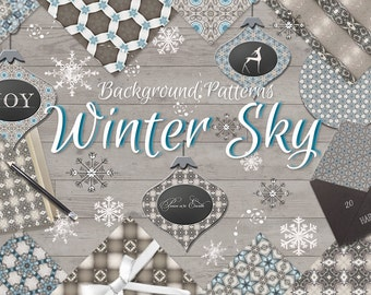Winter Sky - Masculine Christmas / Holiday - Pattern Background Papers Collection - Digital Scrapbook Background Papers 12x12 JPG @ 300dpi