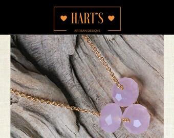 Pink Rose Quartz 14K Gold Necklace