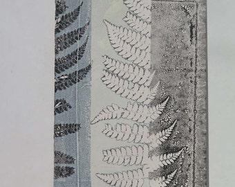 Small wall art Original botanical monoprint Handmade modern art print by Stef Mitchell Ferns from an ancient woodland dusky duck egg blue