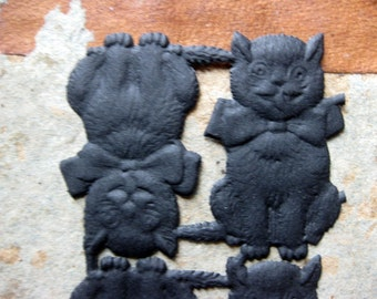 10 Embossed Black Cat Dresden Scraps, Seated Cat with Bow, Made in Germany, Paper Scraps