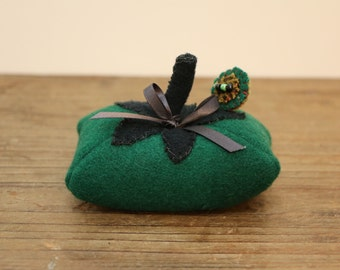 Primitive Tomato Pincushion - Felted wool in Glorious Forest Green tones
