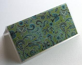 Blue Green - swirls - Checkbook Cover