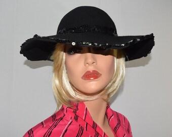 Vintage TINA LUXE Black Wide Brim Hat Sequin Trim Grossgrain Bow - One Size