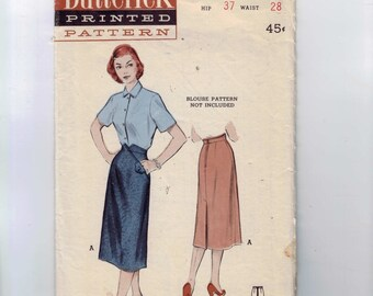 1950s Vintage Sewing Pattern Butterick 5923 Misses Slim Three Gore Skirt with Oblique Detail Waist 28 50s