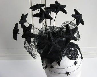 "Fascinationor ""Dark Star"" black Glitter sparkling Tulle Headpiece Black Stars Gothic Elegant"
