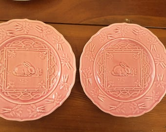 Portuguese Pottery, 2 Plates, Pinhiero Pottery, Spring, Easter, Bunny, Pink
