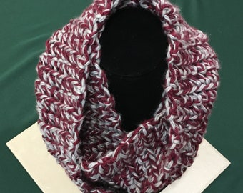 Infinity Scarf, Crochet Infinity Scarf, Gray and Wine, Burgundy, Handmade
