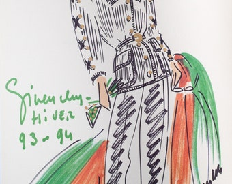 A vintage GIVENCHY fashion illustration