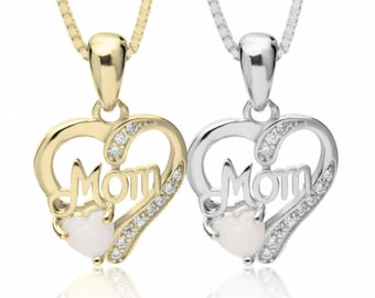 Opal Mothers Necklace. Mothers Necklace. Grandmothers necklace in Sterling Silver - Mothers Day Gift.