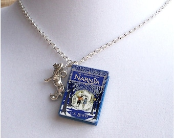 The Chronicles of Narnia with Lion Charm - Miniature Book Necklace