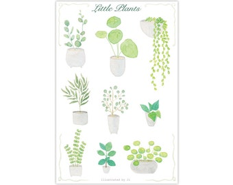 Little plants sticker, watercolor sticker, handmade sticker