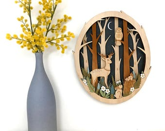 Moonlit Forest - hand painted, laser cut wall hanging