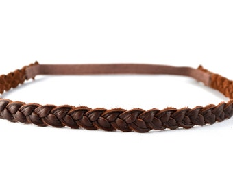 Brown Leather Braided Headband Newborn Baby Child Adult Photo Prop Headwrap Spring Summer Beautiful for Little Girl Child Bow