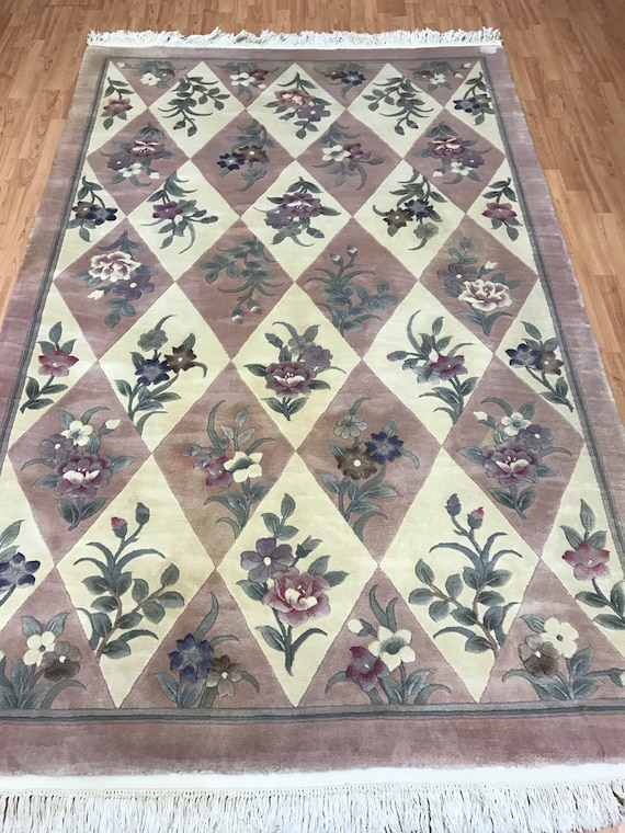 "5'6"" x 8'6"" Chinese Art Deco Oriental Rug - Hand Made - Full Pile - 100% Wool"