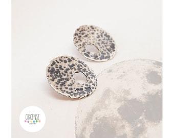 Moon earrings, bohemian earrings, boho earrings, black earrings, round earrings, planets earrings, textured earrings, indie earrings