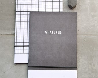 Two A5 Notebooks, Modern Black Grid and 'WHATEVER' Minimal Stationery, black and white, abstract recycled paper pocket journal, gift set