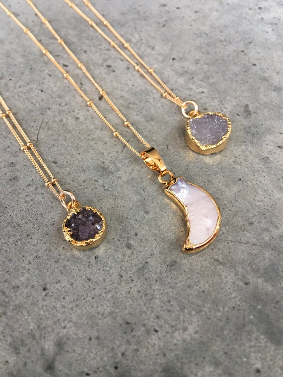Pearl moon and Druzy Necklaces, boho chic necklaces, wedding gift, best friend gift, aunt gift, sister gift, electroplated jewelry