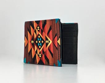 Fire water geometric design Native American print handcrafted billfold wallet