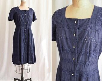 "1950s Dress | Eleanor | Vintage 50's Shirtwaist Navy Blue Eyelet Dress Rhinestone Button Front Square Neck 50s Day Dress Size L Bust 38- 40"""