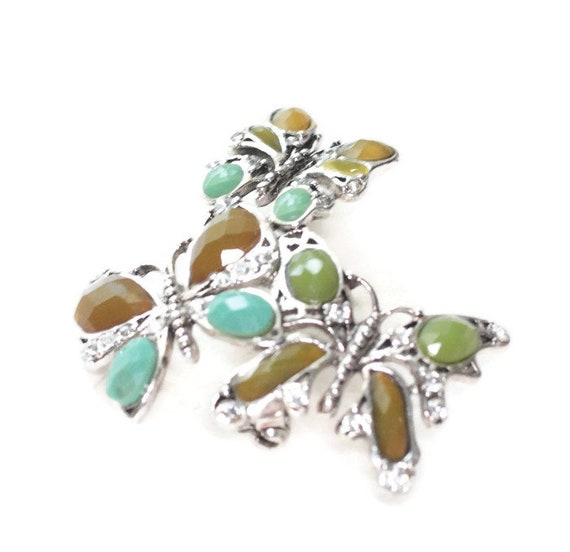 Three Butterfly Brooch Monet Faceted Beads Turquoise Olive Mocha Clear Rhinestones