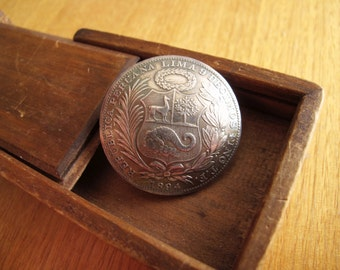 Antique 1894 Silver Coin Brooch For The Collector