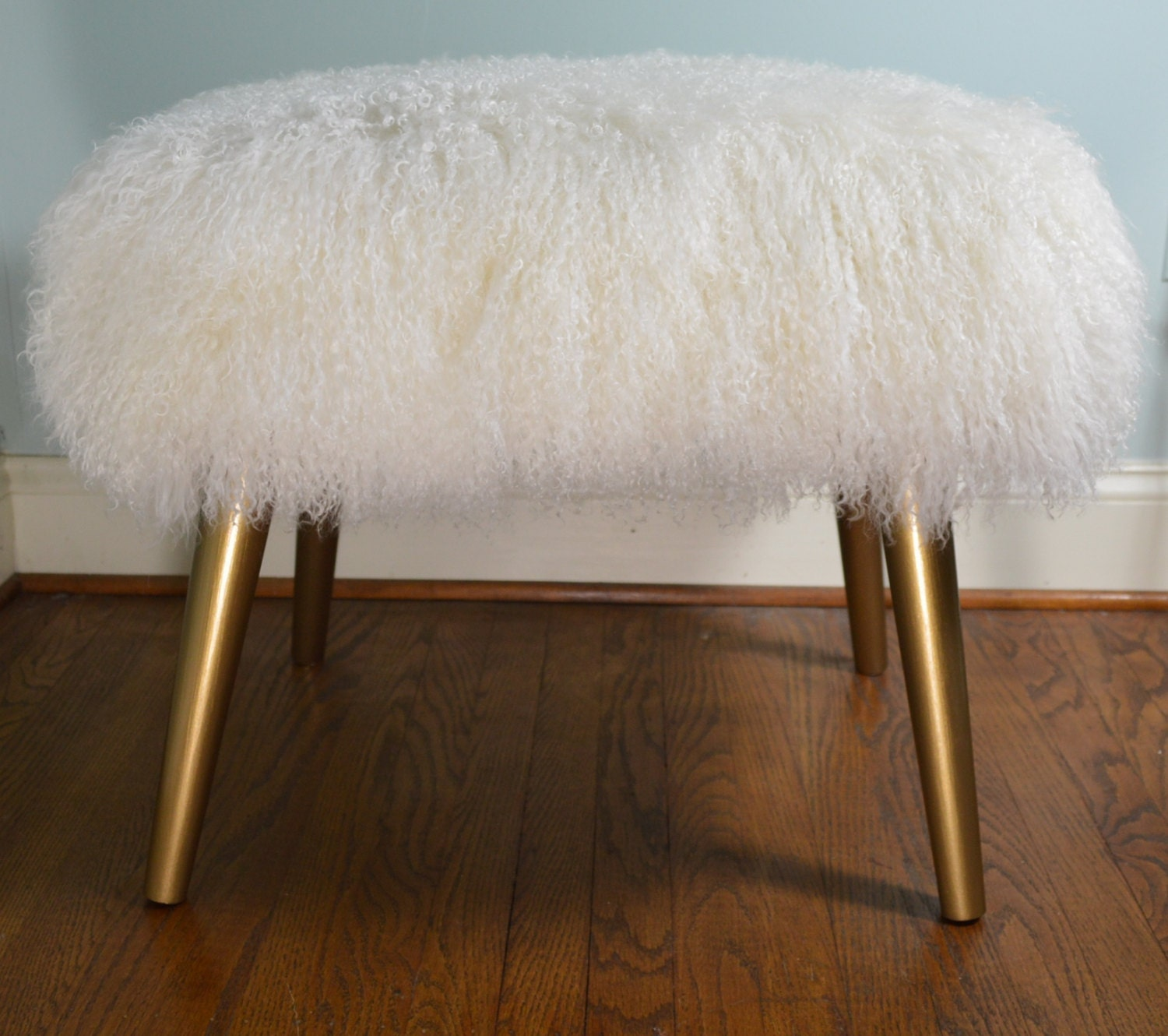 Real Mongolian Lamb Bench Stool wood legs with gold finish
