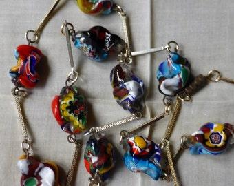 Vintage Venetian pinched Millefiori Bead Necklace