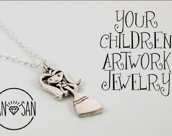 Custom Children's Artwork jewelry in  Silver. Made by Your Childrens Drawing
