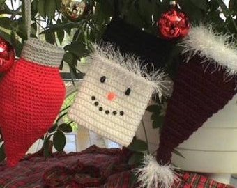 CROCHET PATTERN Easy BEGINNER Small Christmas Stocking Set of 3 Holiday Petite Stocking Set