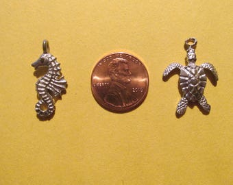 Dozen Pewter Seahorse And Turtle Charms Six Of Each