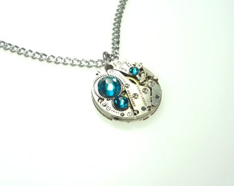 Steampunk Clockwork Necklace With Turquoise Swarovski Crystals