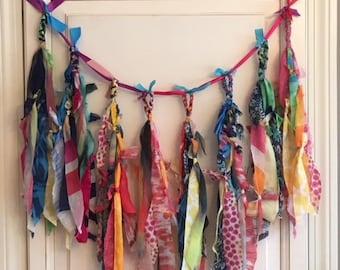Custom Colorful Bohemian garland. Gypsy banner. Bohemian decor. Fabic wall or door hanging