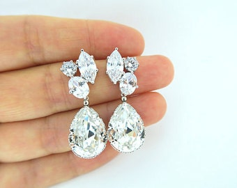 Bridal Crystal Earrings Swarovski Teardrop Crystal Earrings Clear White Cubic Zirconia Earrings Wedding Jewelry Bridesmaid Gift (E003)