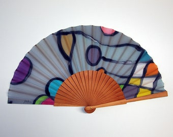 Hand fan Handpainted Silk- Abanico- Wedding gift- Giveaways- Bridesmaids- Spanish hand fan - 17 x 9 inches (43 cm x 23 cm)