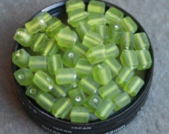 30 vintage matte olive green czech glass beads
