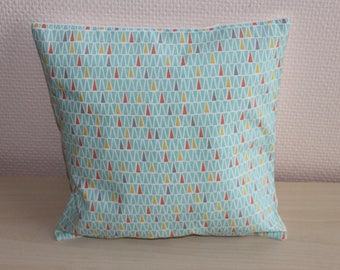 Mint green pillow and triangles - 24 x 24 cm - Cushion cover thin
