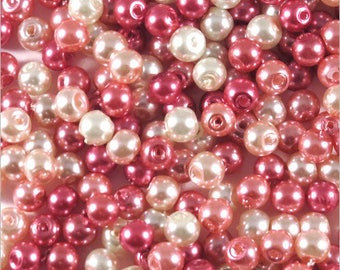 Pink pearls 4mm Czech glass mix matched set 1200 pcs