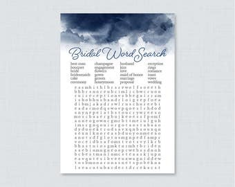 Navy Watercolor Bridal Shower Word Search - Printable Navy Blue Bridal Shower Game - Navy Watercolor Bridal Shower Word Search 0030-N