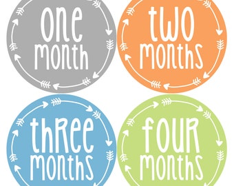 Baby Boy Month Stickers Monthly Baby Sticker Monthly Baby Stickers Baby Month Stickers Arrows Milestone Stickers Photo Stickers 1022