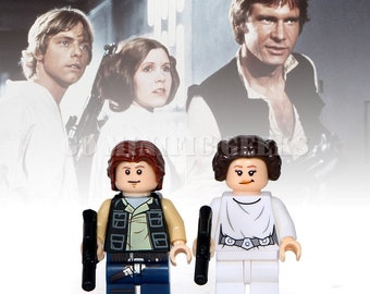 Custom 2PCS Han Solo Leia Organa Minifigures Star Wars UK Seller