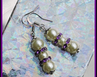 Cream Pearl Drop Earrings with Purple Rhinestones, Elegant Glass Pearl Earrings, Gift Under 15 Dollars, Free Shipping