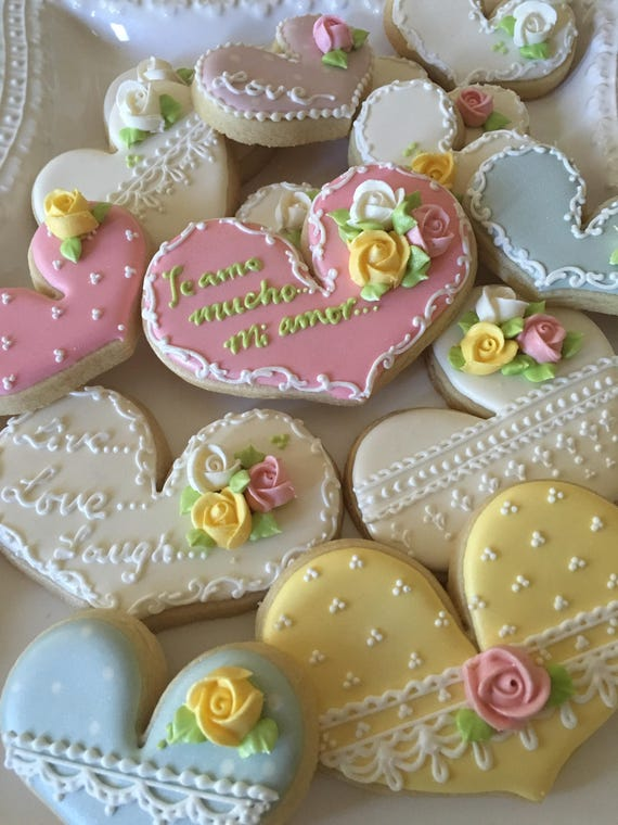 Tea Party Heart Cookies 24 Pcs, for Wedding, Bridal Shower Cookies, Bridesmaids' Gifts, Birthday, Anniversary