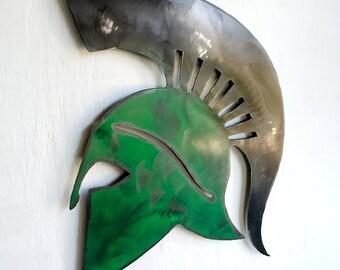 Trojan wall hanging metal sign - Spartan helmet wall hung - metal Trojan helmet art - green and black spartan helmet- outdoor metal wall art
