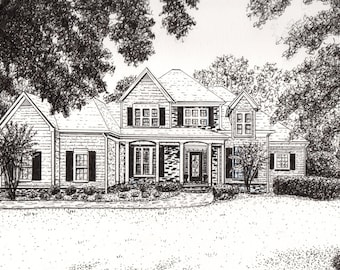 PEN & INK HOME Drawing from Your Photograph by Suzanne Churchill, Realtor Closing Gift, Housewarming Gift or Parent Gift, Gift Certificate