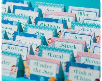 Under the Sea Party Food Tents; Little Mermaid PDF Birthday Party Food Labels; Mermaid Party; Little Mermaid  Party Decorations; Party decor