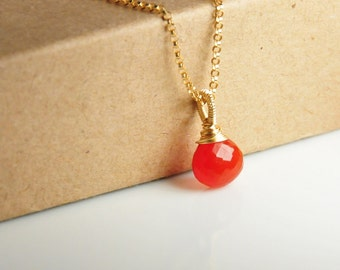 Carnelian necklace, gemstone pendant necklace, choker, wire wrapped, 14K gold filled metal, birthstone necklace, cute little gem necklace