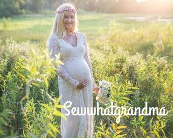 Size 6-8, Cream Maternity Dress, Champagne Lace, Maternity Bridesmaids, Pregnancy Gown, Maternity Wedding, Baby Shower, Scallop Lace Gown